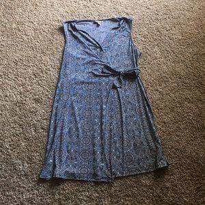 Blue Geometric Wrap Dress